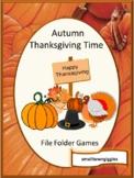 Thanksgiving File Folder Games, Kindergarten Thanksgiving Math and Literacy