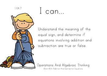 Autumn Theme 1st grade math Common Core Posters first Grade Standards