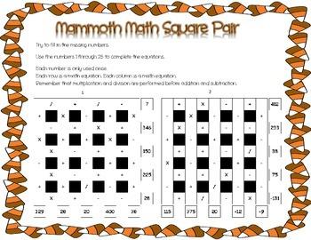 Thanksgiving/Autumn Theme 5x5 Advanced Math Square Pair