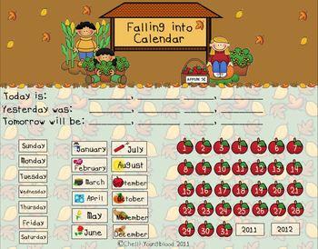 Autumn Theme Math Calendar for the Smart Board