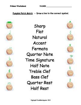 Autumn Theme- Primer Level Music Theory Worksheet Pack