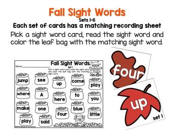 Autumn Theme Sight Word Activity Pack