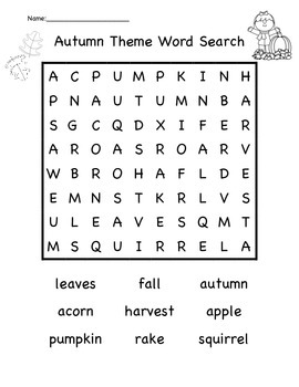 Autumn Theme Word Search