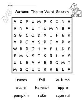 Autumn Theme Word Search