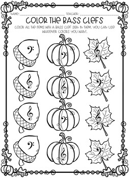 Autumn Themed Bass Clef Worksheets