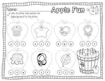 Christian Safe Fall Themed Beginning Sounds and Letters Pack