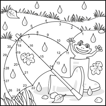 Connect the Dots and Coloring Page with Umbrella, Commercial Use Allowed