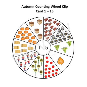 Autumn Themed Counting Wheel Clip Cards 1 - 20
