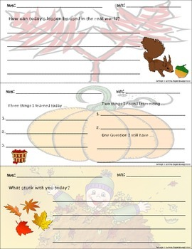 Exit Slips Ticket Out Autumn Fall Themed
