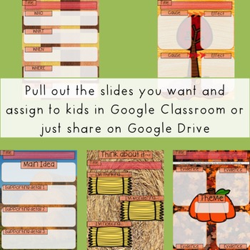 Autumn Themed GOOGLE Reading Graphic Organizers