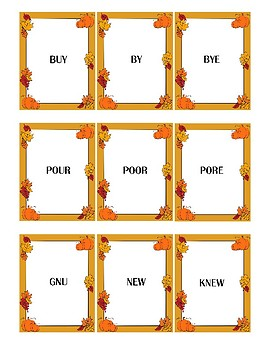 Autumn Themed Homophone Concentration Game - Triplets