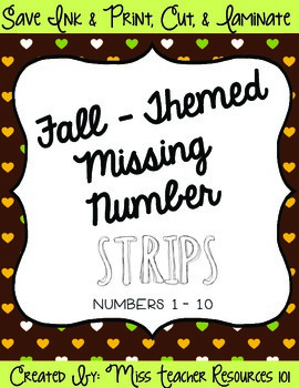 Autumn Themed Missing Number Strips {Freebie}!