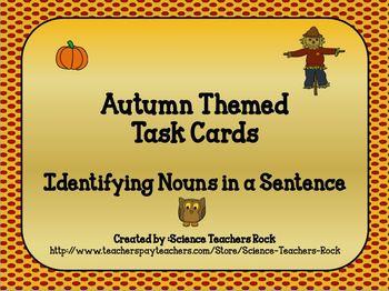 Noun Task Cards (Autumn Theme)