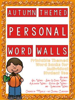 Autumn Themed Personal Word Walls {Printable Word Banks: I