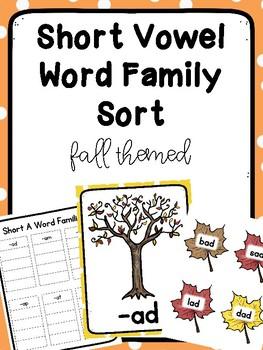 Autumn Themed Short Vowel Word Family Sort