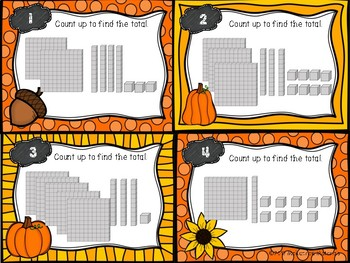 Autumn Themed Three Digit Numbers with Base 10 Blocks Task Cards