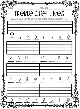 Autumn Themed Treble Clef Worksheets