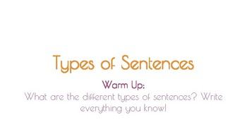 Autumn Themed Types of Sentences Practice