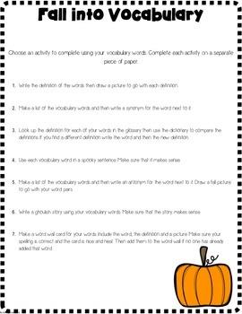 Autumn Themed Vocabulary Activities