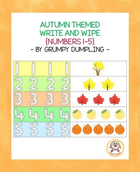 Autumn Themed Write and Wipe {Numbers 1-5}