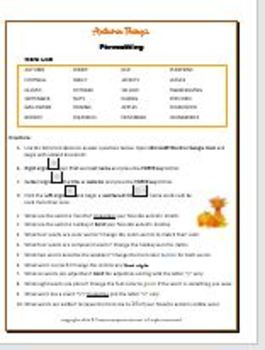 Autumn Things - Computer Formatting Activity