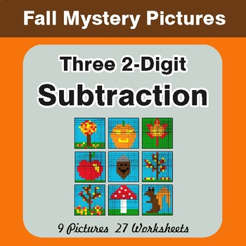 Autumn: Three 2-Digit Subtraction - Color-By-Number Math Mystery Pictures