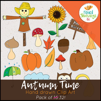 Autumn Time Clip Art | 32 Original Hand Drawn Images
