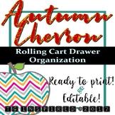 18 Organizer Box Labels --Rolling Cart Drawers-- Autumn Chevron - Orange + Green