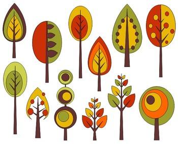Autumn Trees Digital Clip Art - Retro Fall Trees