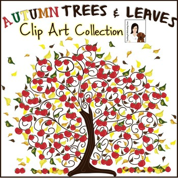 Autumn Trees and Leaves Clip Art - Personal and Commercial Use