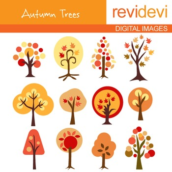 Autumn Trees clip art (nature, orange, fall) 07037