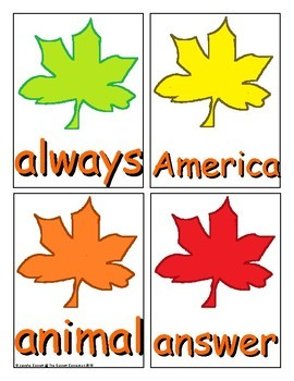 Autumn Trick Word Recognition Center or Whole Group Game for Level 2