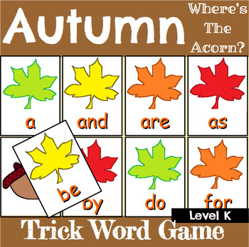 Autumn Trick Word Recognition Center or Whole Group Game for Level K