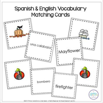 Autumn Vocabulary Riddles Spanish/English Bundle
