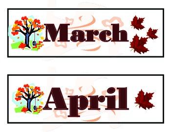 Autumn Calendar. Autumn Bulletin Board! Autumn Theme! Fall Theme Calendar!