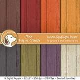 Autumn Wood Digital Scrapbook Paper Wood Backgrounds Thank