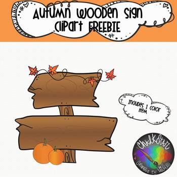 Autumn Wooden Sign Clipart FREEBIE