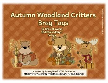 Autumn Woodland Critter - Brag Tags
