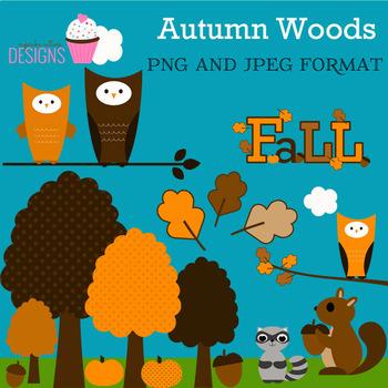 Autumn Woods Digital Clip Art Commercial Use