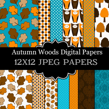 Autumn Woods Digital Paper Pack - Digital Commercial Use