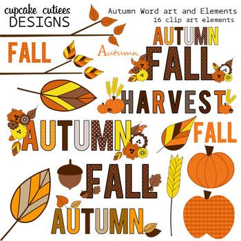 Autumn Word Art Fall Digital Clip Art Elements