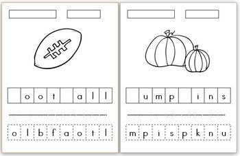 Autumn Word Scramble Cut and Paste (4 differentiated versions)