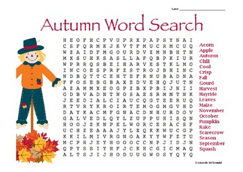 picture regarding Fall Word Search Printable named Autumn Phrase Glance Worksheets Coaching Components TpT