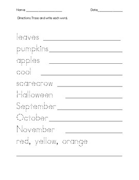Autumn Word Search and Activities