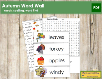 Autumn Word Wall Cards, Plus!