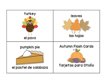 Autumn Word Wall Display and Flash Cards (English & Spanish)