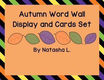 Autumn Word Wall Display and Flash Cards (English & Spanish)