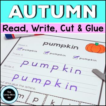 Autumn Word Work: Read, Write, Cut, Glue