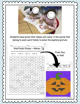 Autumn Word Work - Word Family Mystery Pictures