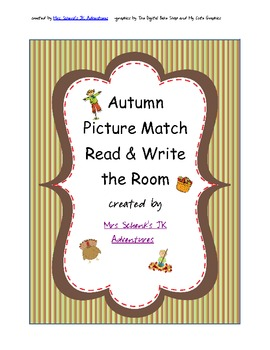 Autumn Word and Picture Match Write the Room